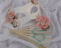 Princess mask and fan set. Cream floral mask and hand held fan. Costume. Masquerade.  Woman's.