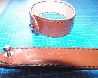 Chestnut Buffalo Stitched Leather Bracelet