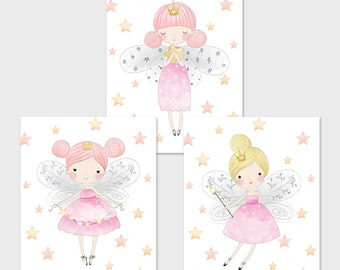Fairy Printable Set Pink and Gold Fairies Fairy Nursery Decor Fairy Wall Art Magical Nursery Decor Pink Fairy Print Fairy Table Sign 113