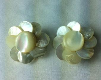 Lovely Vintage Mother Of Pearl Earrings