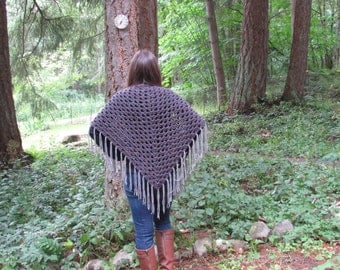 The Bethany Shawl | Triangle Fringe Shawl | Fringe Shawl | Fringe Scarf | Crochet Shawl | Triangle Fringe Scarf