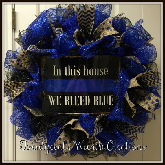 Police Officer Wreath/Thin Blue Line/We bleed blue/Dallas Strong