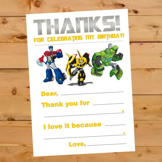 Transformers Thank You Card Transformers Birthday Fill In The