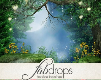 3x4 Scenic Photo Backdrop of Enchanted Forest Fairy - FabVinyl 3x4ft (FV5039)