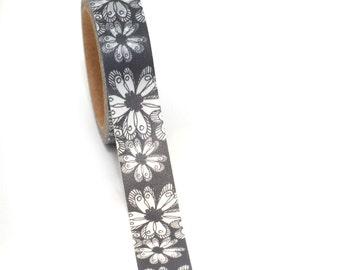 WASHISAMPLE pretty flowers on grey background washi with flowers 1,5 cm