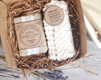 Bath Gift Set - Organic Soap & Hand-Knit Washcloth