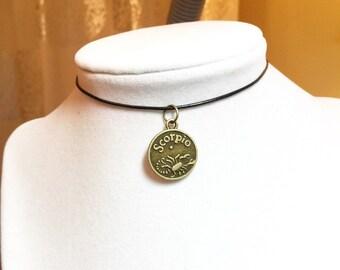 Aquarius Necklace, Aquarius Choker, Aquarius Zodiac Sign Necklace, Antique Brass Necklace, Black Leather Choker Necklace