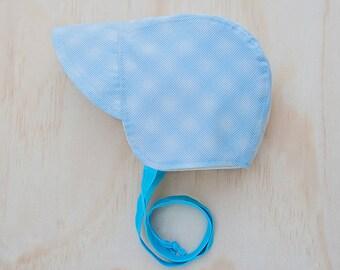 Blue baby bonnet, sun hat