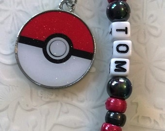 Personalised boys keyring~Pokemon ball keyring~Pokemon Pikachu keyring~back to school kids keyring