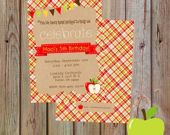Apple Orchard Birthday Invitation, Apple Themed Party Invite, Apple Picking Party, Apple Birthday Party Invite, Printable Apple Invite