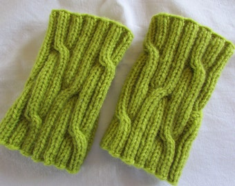 Apple Green Boot Cuffs - Boot Toppers - Knitted Boot Cuffs -  Women's Boot Cuffs - Cable Boot Toppers - Knitted Leg Warmers