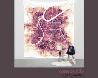 Kansas City Wall Tapestry - Beautiful Wall Hanging -Urban -City Art - Watercolor Map - Home Decor - Wall Decor - 3 Sizes