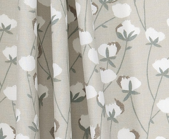 Southern Cotton Bolls Fabric Designer Home Decor Fabric Neutral ...