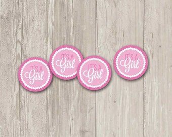 It's a Girl Cupcake Toppers | Baby Girl Party Circles | Baby Shower Cupcake Toppers | Printable