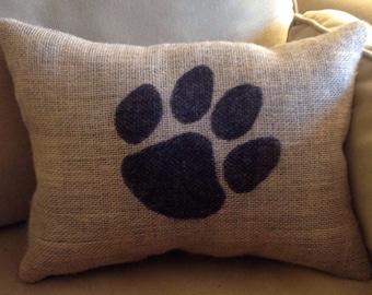 Tiger Paw Burlap Pillow