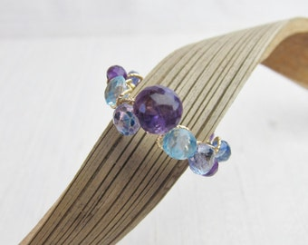 Tanzanite, London Blue and Sky Blue Topaz, Kyanite and Purple Amethyst Cluster 14K Gold Filled Handmade Gem Wrapped Ring