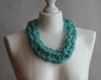 Knit wool necklace mint mohair statement collar