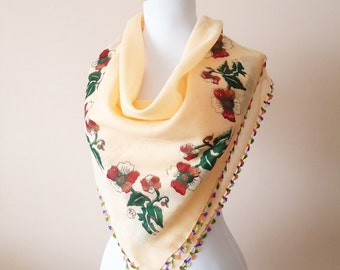 Traditional Turkish Scarf mother christmas gift yemeni scarf Lacework Scarf Yemeni Square Scarf oya Unique holiday items