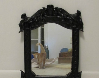 Wall Mirror, Ornate Heavy Plaster Frame, Painted Black, Hollywood Regency, 1960's or 1970's