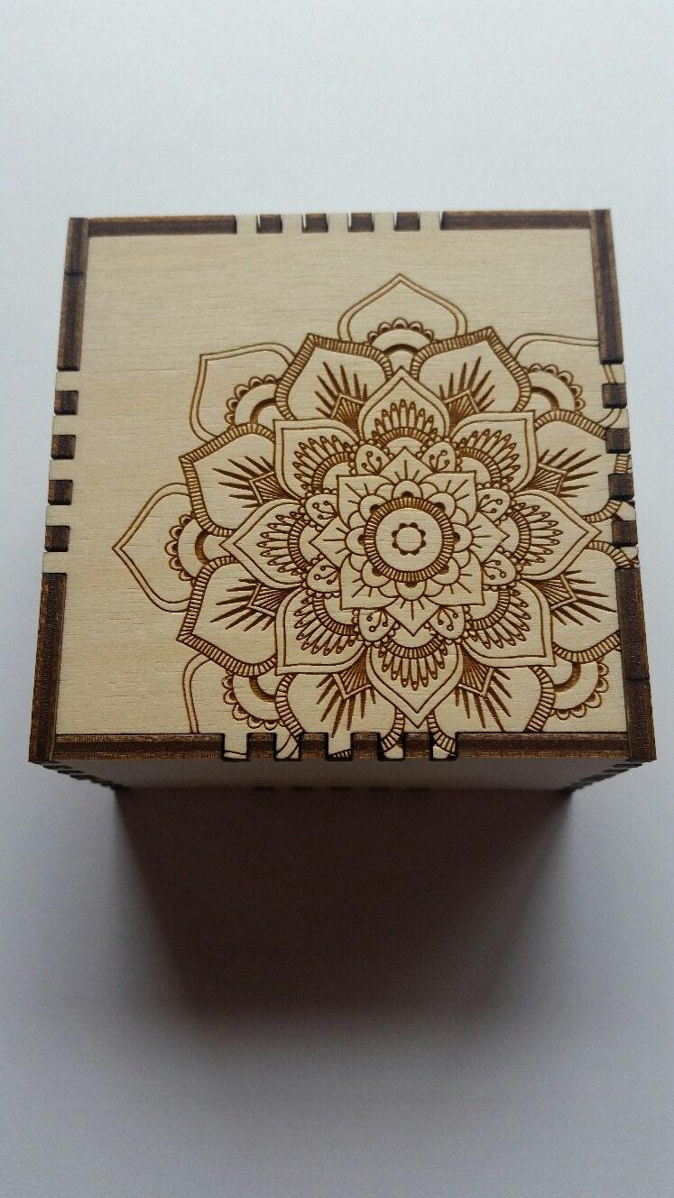 Laser Engraved Wooden Mandala Keepsake Jewelry Trinket Box