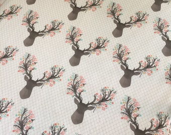 Floral Deer, Crib Sheet, Fitted, Modern Crib Sheet, Nursery, Bedding Or Changing Pad Cover
