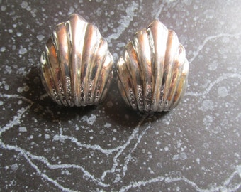 Silver 925 Stamped Shell Earrings Big and Bold Pierced