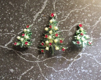 Vintage Christmas Tree Pin and Earring Set