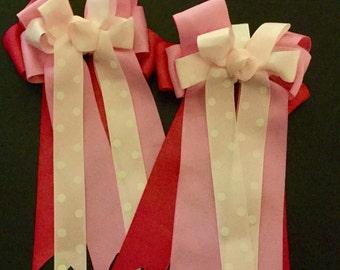 Pink Ombré Horse Show Bows, Ombré Pink Equestrian Bows, Pink Ombré Competition Horse Bows, Pink Show Bows, Equestrian Show Bows, Riding Bows