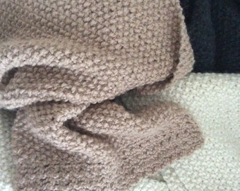Alpaca hand knitted scarf with crochet border. Moss stitch.
