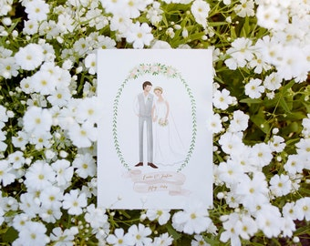 Custom Couple Illustration Valentine Anniversary Wedding Gift Idea Decoration