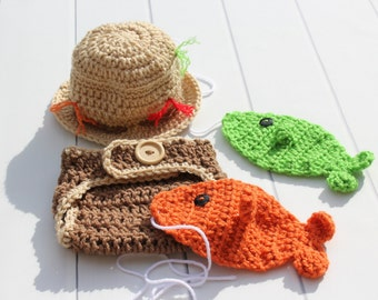 Baby Fishing Hat, Crochet Fishing Hat, Baby Fisherman, Fisherman Hat, Baby Fishing Set, Crochet Fisherman, Baby Boy Fisherman, Crochet Fish