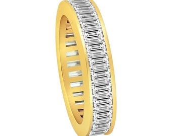 3.32 CT Natural Diamond Baguette Eternity Band in Solid 18 KT Yellow Gold