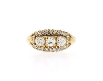 1.15 CT Elegant Natural Diamond Three Stone Ring in Solid 14 KT Yellow Gold