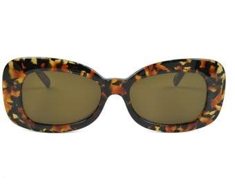 Club LA 8250 Rectangular Women's European Dramatic Thick Tortoise Cheetah Havana Sunglasses 90s France NOS