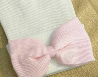 White Newborn Hospital Hat with Pink Bow! 1st Keepsake! Newborn Beanies. Newborn hat with Beautiful Bow Same Material as hat