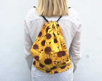 Handmade sunflower print drawstring backpack