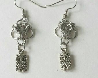 Chainmail Owl Earrings. Silver Owl Earrings.