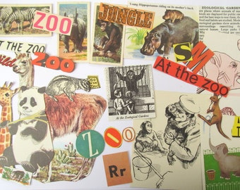 Zoo themed scrapbook kit: pack of 80 vintage and new buttons, die cuts, papers. Craft pack for collage, journaling, scrapbook. SK13