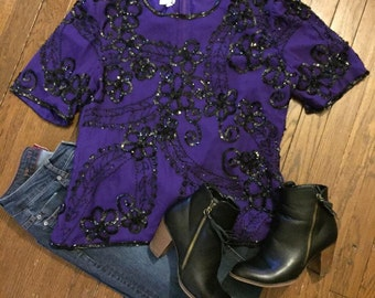 Purple beaded and sequin floral top