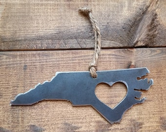 Love North Carolina Rustic Metal Recycled Steel Heart Ornament