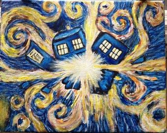 Starry Night Inspired Tardis Exploding