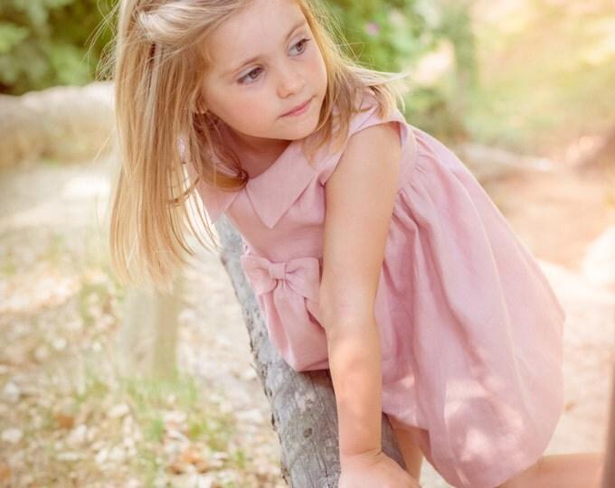 Toddler linen dress, Girls light pink dress, Toddler dress, Romantic Girls dress, Linen dress of 100% linen , Linen Natural Girl Dress