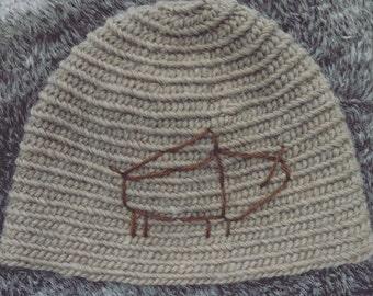 Handmade naalbinding hat brown sand boar