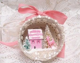 Shabby Tea Cup Ornament Putz House Pink Bottlebrush Tree Deer