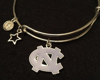UNC Tarheels Silver Alloy adjustable wire wrap bracelet with FREE shipping