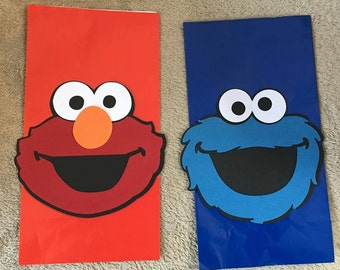 12 Elmo or Cookie Monster Party Favor bags. Great for Birthday Parties. Free Shipping!