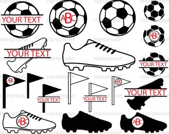 Soccer - Cutting files SVG DXF EPS Vinyl cut Digital Design files Instant Download Personal and Commercial use Circle Split Name (00018c)