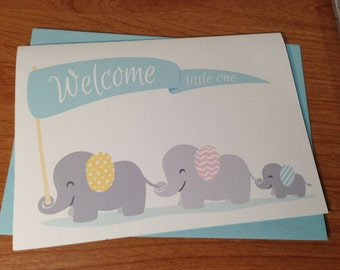 New Baby Boy Cute Elephants Card. Welcome Little One. Yellow, Pink, or Blue