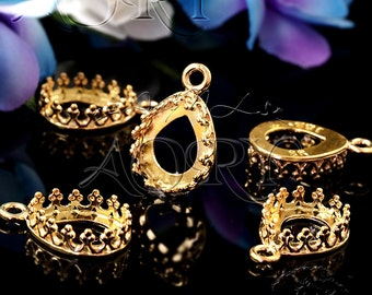 1pcs 24K Gold Plated Brass Wire Crown Bezel Setting for 10x8mm Cabochon/Faceted Gems, 2641TG, Pear Shape, Israeli Top Gold Technology