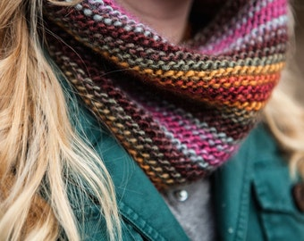 Rainbow Multicolor Knit Cowl